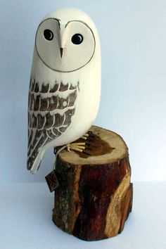 wood barn owl ornament - The English Owl Company