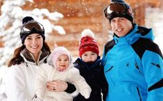 The royal family skiing in the French Alps