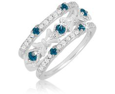 0.45 Carat Blue and White Diamond Stackable Rings in Sterling Silver