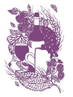 Sarah Dennis Paper Cut Art Illustration Wine
