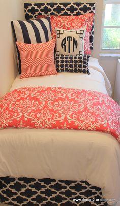 D2D Designs: Coral and Navy Dorm Room // Teen // Apartment Bedding | Decor 2 Ur Door
