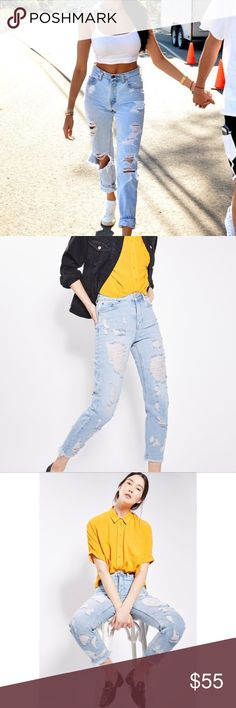 N E WTopshop Moto Mom Destroyed Jeans Topshop Moto Mom Destroyed Jeans, high waisted, brand new with tags, size W 26, L 30, US 4, could fit a 0-4, depending on how loose/tight you'd want them, listing as 4, measurements upon request. Topshop Jeans