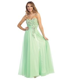 2014 Prom Dresses - Lime Green Chiffon Beaded Strapless Sweetheart Gown (40262-LE5478) van Let\'s 2013 - A stunning chiff...Price - $162.00-yIi8kNkV