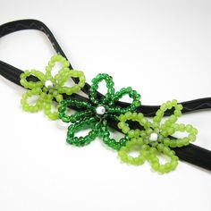St Patricks Day Beaded Headband  Emerald Green