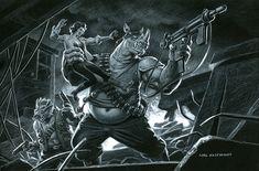 Bebop and Rocksteady - Black Board, Greg Hildebrandt