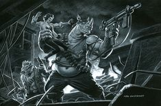 Bebop and Rocksteady - Black Board, Greg Hildebrandt Bebop And Rocksteady, April O'neil, Metal Magazine, Michelangelo, Teenage Mutant Ninja Turtles, Tmnt, Great Artists, Heavy Metal, Comic Art