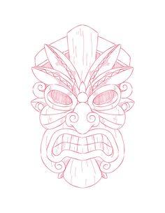 Amazing Drawings, Art Drawings, Tiki Maske, Small Dog Tattoos, Hawaiian Flower Tattoos, Tiki Tattoo, Maori Patterns, Family Tattoo Designs, Tiki Totem