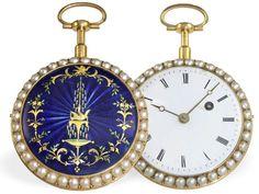 Taschenuhr: bedeutende Emailleuhr mit Perlbesatz und Repetition, Vauchez en la Cite Paris, für den