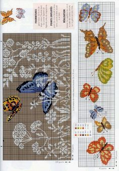 Cross stitch pattern for butterflies... Some can be done with square or loom stitch  #heartbeadwork #loombeading