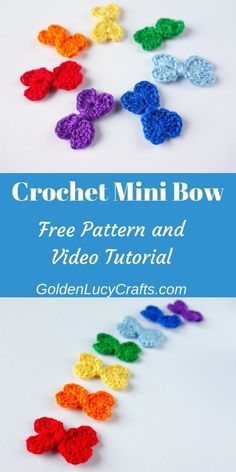 Crochet bow free pattern and video tutorial, small bow crochet, This Crochet Mini Bow is another heart-shaped project. The bow is made with two connected hearts. Easy to make, only about Crochet Pattern Free, Crochet Flower Patterns, Crochet Motif, Crochet Ideas, Crochet Bow Ties, Crochet Hair Bows, Crochet Small Flower, Crochet Flowers, Crochet Supplies