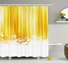 Ombre Striped Design with Bubble alike Circles Artwork Shower Curtain Set