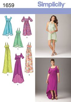 """misses' & plus size day into evening dress with empire waistline seam &   pleat details has halter or shoulder straps or cold-shoulder sleeves with straight or hi-low hemlines. simplicity sewing   pattern.<br><br><img src=""""skins/skin_1/images/icon-printer.gif"""" alt=""""printable pattern"""" /><a href=""""#""""   onclick=""""toggle_visibility('foo');"""">printable pattern terms of sale</a><div id=""""foo"""" style=""""display:none; margin-  top: 30px;"""">digital patterns are tiled and labeled so you can print and…"""