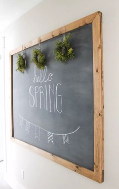 How to Make your own Large Hanging Chalkboard Chalkboard Diy, Hanging Chalkboard, Kitchen Chalkboard, Summer Chalkboard, Chalkboard Walls, Black Chalkboard, Diy Wand, Diy Tableau Noir, Diy Wall Decor