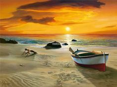 Oil Painting On Canvas Art Decor Prints For Home Decoration Seaside Sunset With Boat On Canvas Seascape picture(China (Mainland))