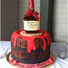 Awesome concept for this 30th #birthday cake! #Barrel, red wax, and even a keepsake bottle on top!