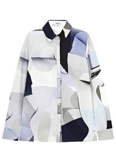 KENZO tonal blue and grey cotton shirt