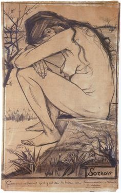 """Vincent Van Gogh (Dutch 1853 - """"Sorrow"""", cm x 27 cm in x 10 in), Pencil, pen and ink on paper (Collection The New Art Gallery Walsall, England) Vincent Van Gogh, Van Gogh Drawings, Van Gogh Paintings, Van Gogh Museum, Art Museum, Art Van, Paul Gauguin, Klimt, Van Gogh Zeichnungen"""
