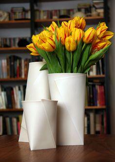 Folded vases from Romi Ceramics, based in Long Island City. Via the 2Modern blog.