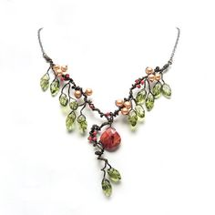 Green and Orange Statement Necklace, Autumn Leaf Jewelry, Sand Coral Leaf Necklace, Bib Necklace, Nature Jewelry   $98.95 USD