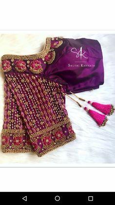 Kerala Saree Blouse Designs, Wedding Saree Blouse Designs, Saree Blouse Neck Designs, Half Saree Designs, Designer Blouse Patterns, Fancy Blouse Designs, Maggam Work Designs, Stylish Blouse Design, Diana