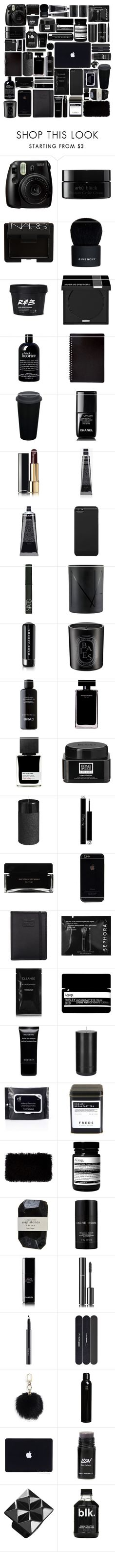 """black fillers"" by katyaluuno ❤ liked on Polyvore featuring beauty, Fujifilm, arbÅ«, NARS Cosmetics, Givenchy, MAKE UP FOR EVER, philosophy, Chanel, Grown Alchemist and Incase"
