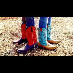 Cowgirl boots Red Ariat boots $150 or trade for another pair in my size, blue and tan are selling for $30 both in great condition let me know if your interested !❤️ Ariat Shoes Heeled Boots