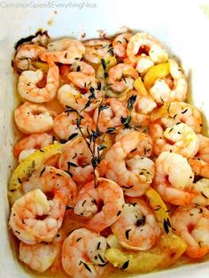 1 lb  Shrimp, fresh    5 cloves  Garlic    1  Lemon    3  Thyme, fresh sprigs    1  Sea or kosher salt and fresh black pepper  1/3 cup  Olive oil  2 tbsp  Butter