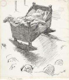 Erik Werenskiold, Spebarn i vugge; studier av spedbarnshode. Antagelig 1892