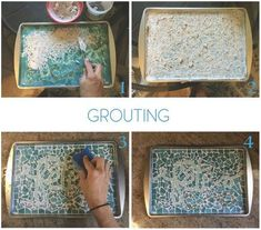 mosaic cookie sheet serving tray, crafts, how to Mosaic Tray, Glass Mosaic Tiles, Terra Cotta, Decoupage, Light Up Canvas, Diy Plant Stand, Cookie Tray, Creative Workshop, Boho Diy