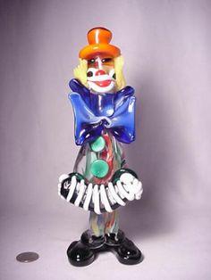 OLD MURANO MID CENTURY MODERN ART GLASS CLOWN w/SQUEEZE BOX FIGURINE SCULPTURE !