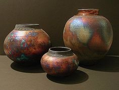 Raku pottery origins are from the 16th Century by Korean potters under Japanese rule in Japan.  I have several pots that look like these....extremely beautiful.    They are one of my weaknesses......