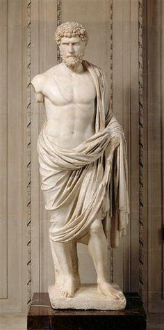 Lucius Aelius Caesar (Aelius Verus), adopted son of Emperor Hadrian, Roman statue (marble), 2nd century AD, (Musée du Louvre, Paris).