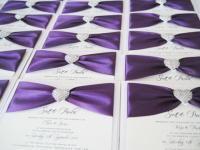 purple and diamante heart wedding invitations