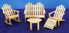 Miniature Adirondack Chairs Dollhouse Woodworking DIY Project ... Fairy Furniture, Miniature Furniture, Doll Furniture, Dollhouse Furniture, Furniture Decor, Furniture Stores, Unique Furniture, Wooden Dollhouse, Diy Dollhouse