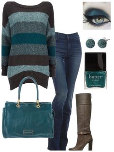 I love the Skinny/Bootleg jeans with high heel boots and fabulous sweater/purse combonation. I love this style. # Casual Outfits with heels color combos Designer Clothes, Shoes & Bags for Women Look Fashion, Fashion Outfits, Womens Fashion, Fashion Trends, Woman Outfits, Fashion Fall, Fall Winter Outfits, Autumn Winter Fashion, Winter Clothes