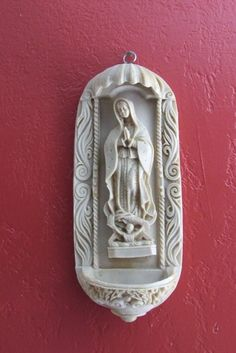 HOLY WATER FONT with the Virgin Mary Statue, Virgin Mary Wall Statue, Holy Water Font, Mary Statue, Religious Items, Religious Statue by BeautyMeetsTheEye on Etsy