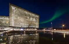 Northern light over Harpa Reykjavik
