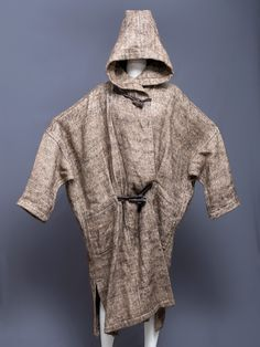 Issey Miyake hooded linen knit dolman sleeve coat with bone toggles, 1970s or 1980s.