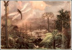 Zdenek Burian 1905 ~ 1981 Meganeura, a family of giant insects (the dragonfly-like species reached wingspans of 75cm)