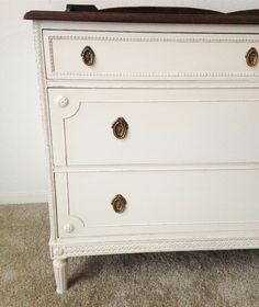 General Finishes Antique White Milk Paint dresser refinished by Painted Home Goods