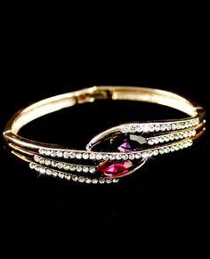 Red Gemstone Gold Crystal Fashion Bracelet US$8.33