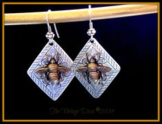 Bali SS & Hill Tribe/ Sterling SP Save the Bees Queen Bee Dangle Earrings #Handmade #DropDangle