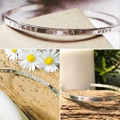Personalised Gifts Ideas : Sterling silver hand stamped cuff bangle LillyAlexandra Hand Made Silver Jew Gifts For Mum, Mother Gifts, Mothers, Silver Bangles, Sterling Silver Jewelry, Silver Jewellery, Silver Rings, Bridal Jewelry, Jewelry Gifts