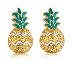 Left Right Accessory - 925 Sterling Silver CZ Pineapple Fruit Stud... ($98) ❤ liked on Polyvore featuring jewelry, earrings, accessories, brincos, sterling silver earrings, sterling silver stud earrings, cz earrings, yellow earrings and zirconia stud earrings