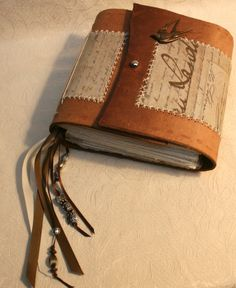 Romantic Leather Journal with Fabric insert by BlackOakArtisans