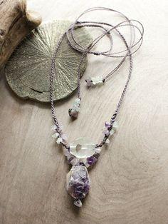 Mia Illuzia - Reiki-infused crystal necklace with Amethyst, Garden Quartz & Aquamarine