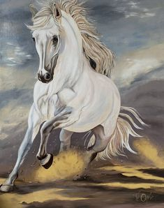 White Horse Painting, Horse Oil Painting, Knife Painting, Animal Paintings, Animal Drawings, Original Paintings, Original Art, Art Drawings Sketches Simple, Horse Art