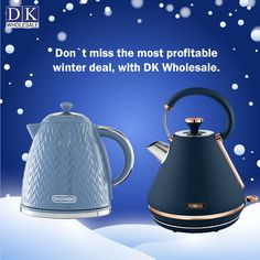 This winter we at DK Wholesale bring you a jaw-dropping wholesale price on the purchase of a wide range of kettles and other various products in wholesale. We have branded kettles such as Tower, Daewoo, Swan, Kitchen Perfected, Argyle, and many more. Get in touch with us or visit our online store www.dkwholesale.com to buy our vast range of kettles in wholesale and to know more about them. Hurry! As our products are always highly in demand. Domestic Appliances, Fruit Juicer, Kettles, Swan, Food Processor Recipes, Tower, Kitchen Appliances, Range, Winter
