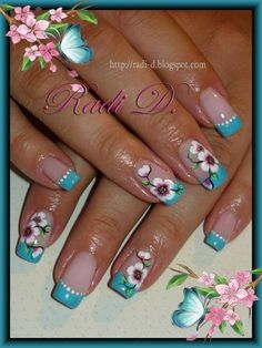 It`s all about nails: Blue French & Flowers Flower Nail Designs, French Nail Designs, Creative Nail Designs, Flower Nail Art, Nail Designs Spring, Beautiful Nail Designs, Beautiful Nail Art, Creative Nails, Gorgeous Nails