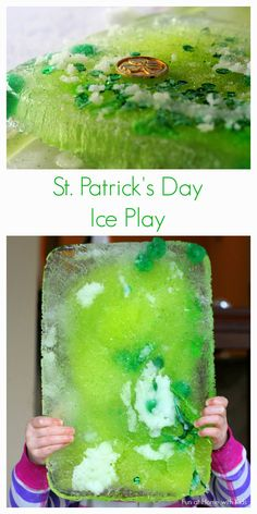 St. Patrick's Day Ice Play! Use some scientific concepts to see how you and your children or students can retrieve objects trapped in a block of ice.